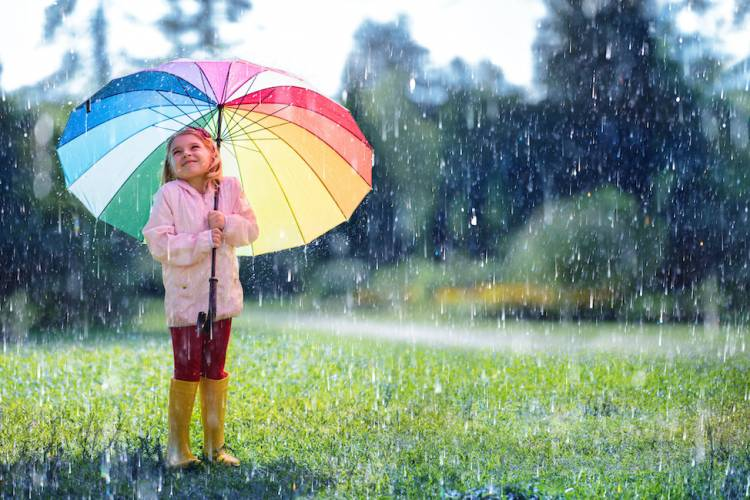 little girl with an umbrella during a rain storm